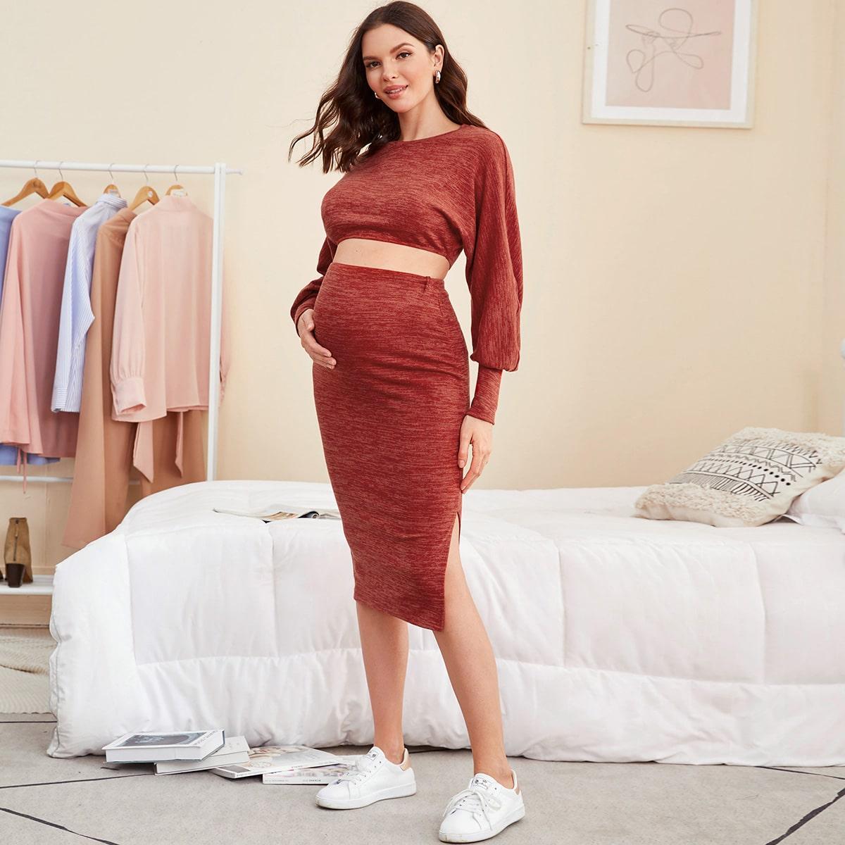 Spacco  ровный цвет повседневный комплекты для беременных