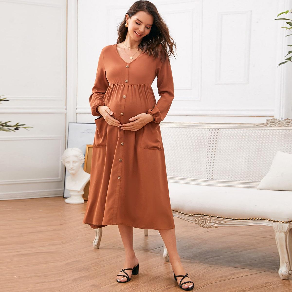 с карманами Одноцветный Повседневный Платья для беременных