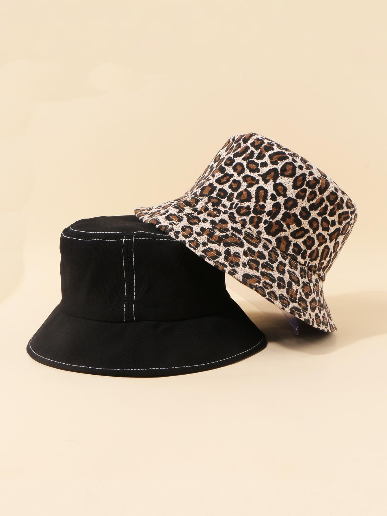 2pcs Leopard Pattern Bucket Hat thumbnail