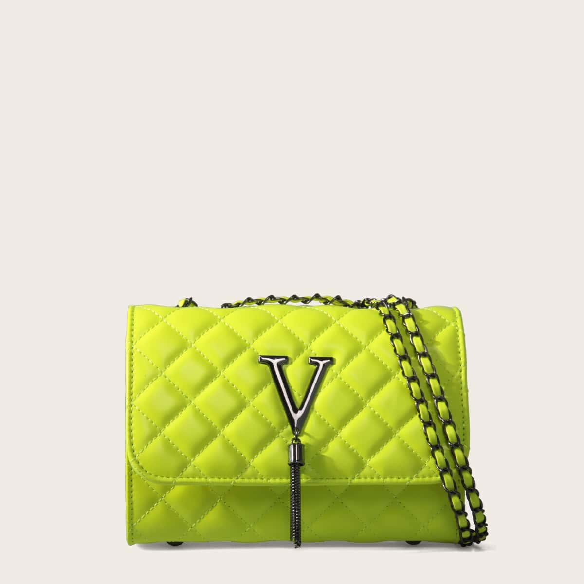 Неоновая желтная стеганая сумка на плечо с бахромой