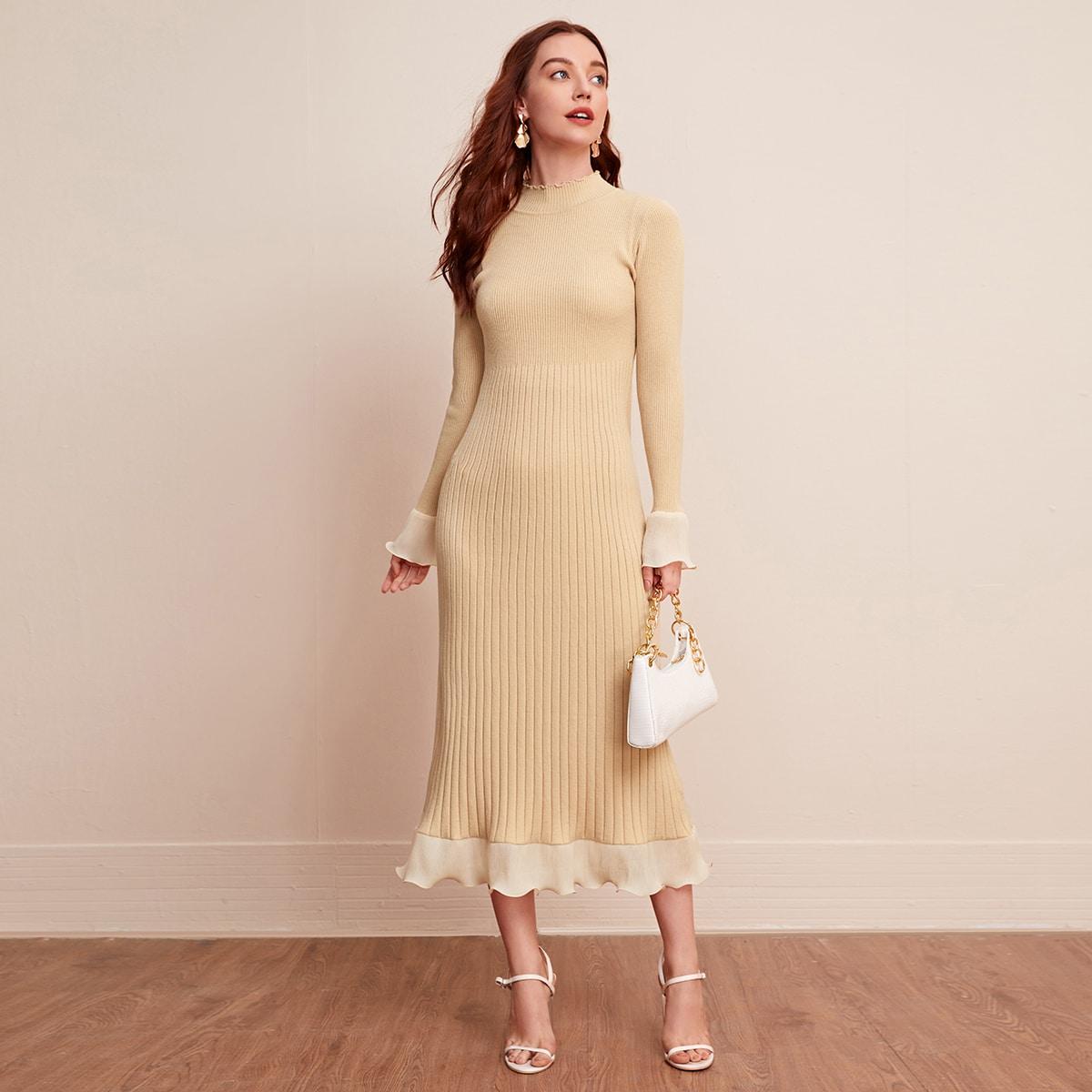 с воланами Одноцветный Элегантный Платья-свитеры