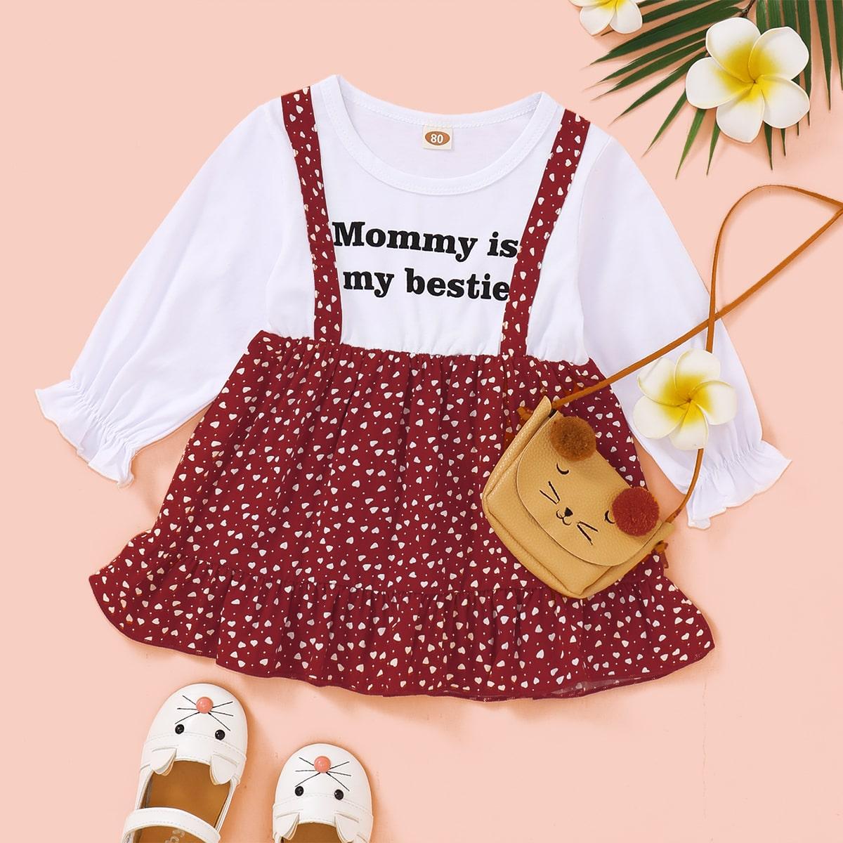 Платье с оригинальным принтом для девочек от SHEIN
