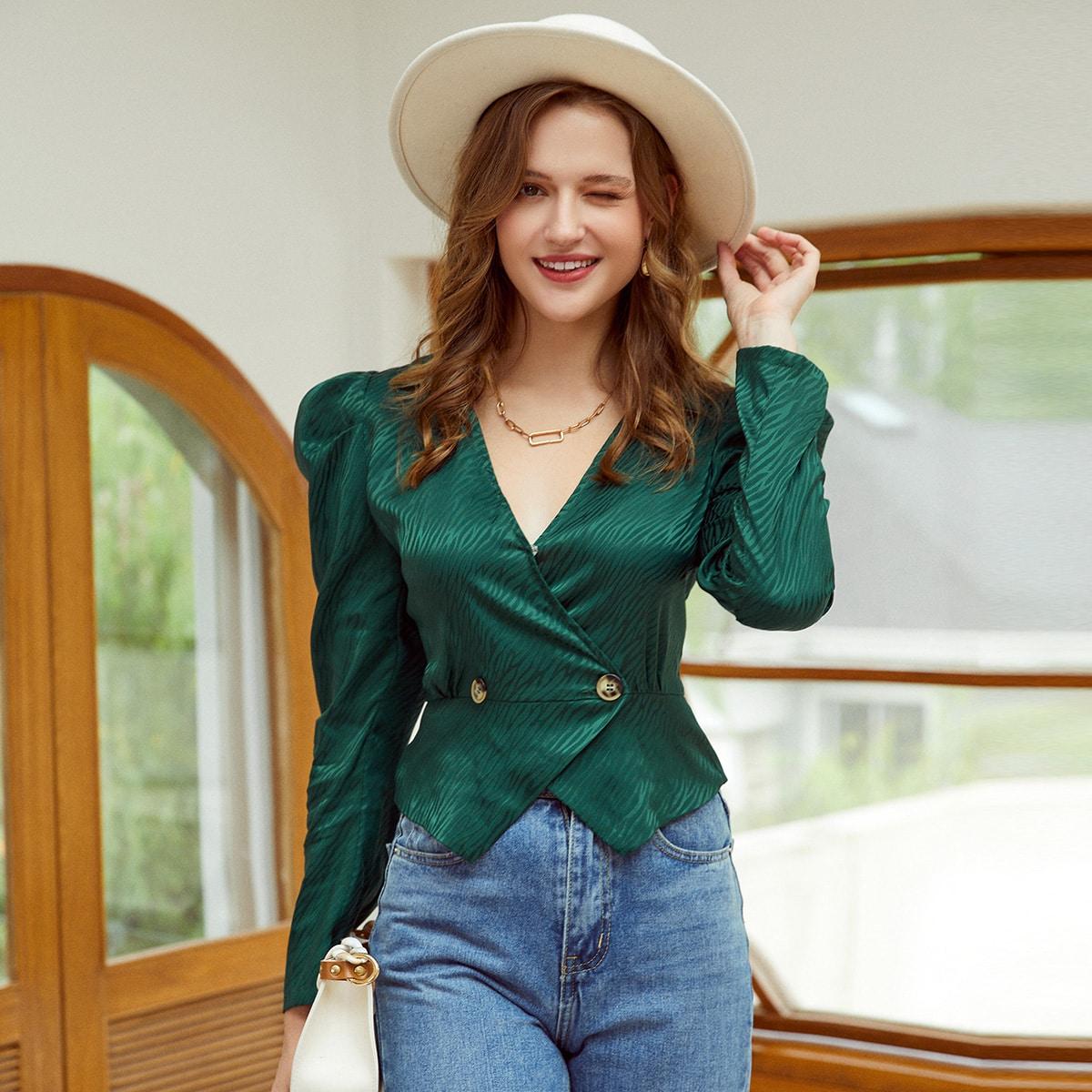 Асимметричный Одноцветный Элегантный Блузы