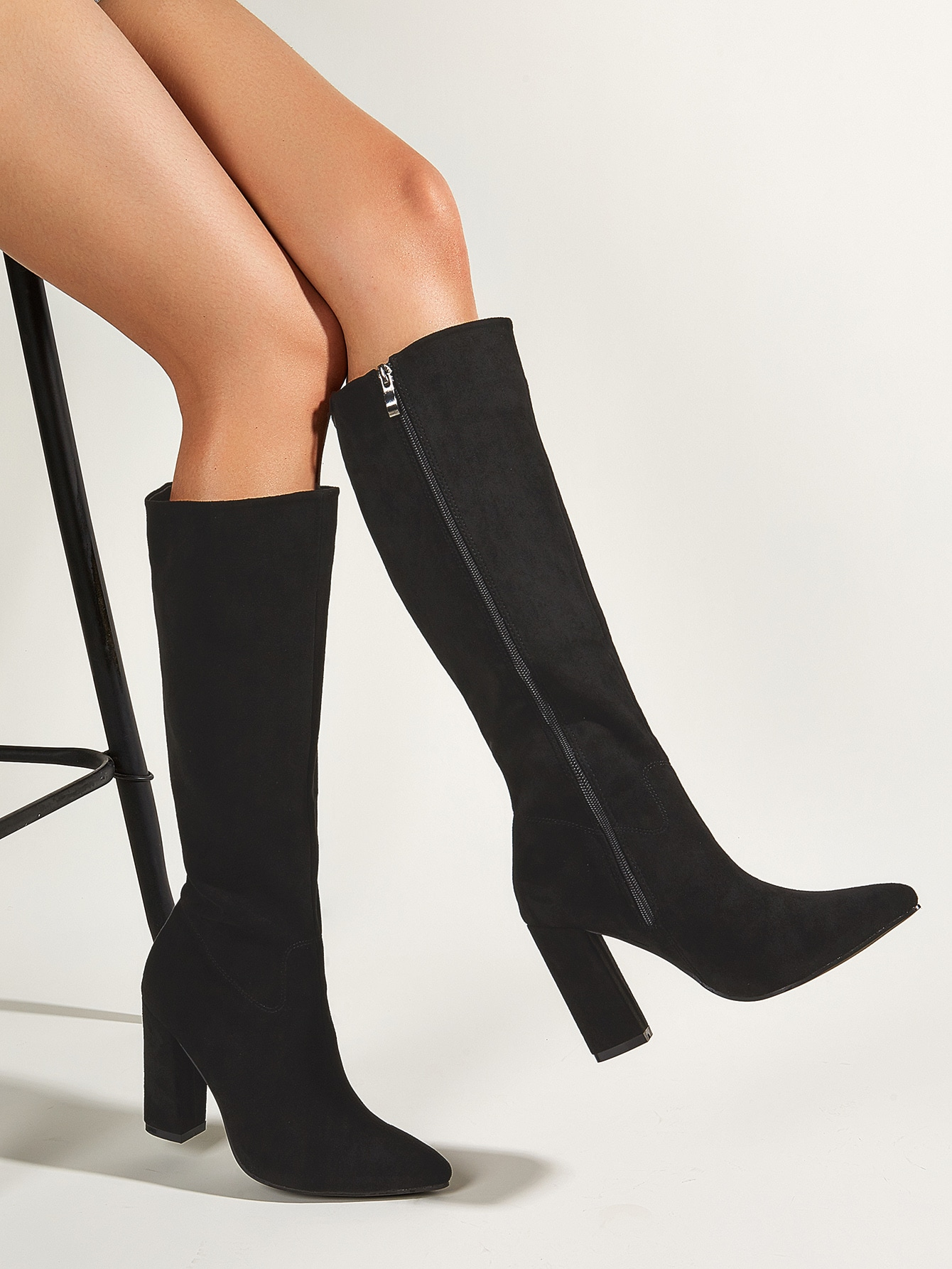 Point Toe Chunky Heeled Knee Boots
