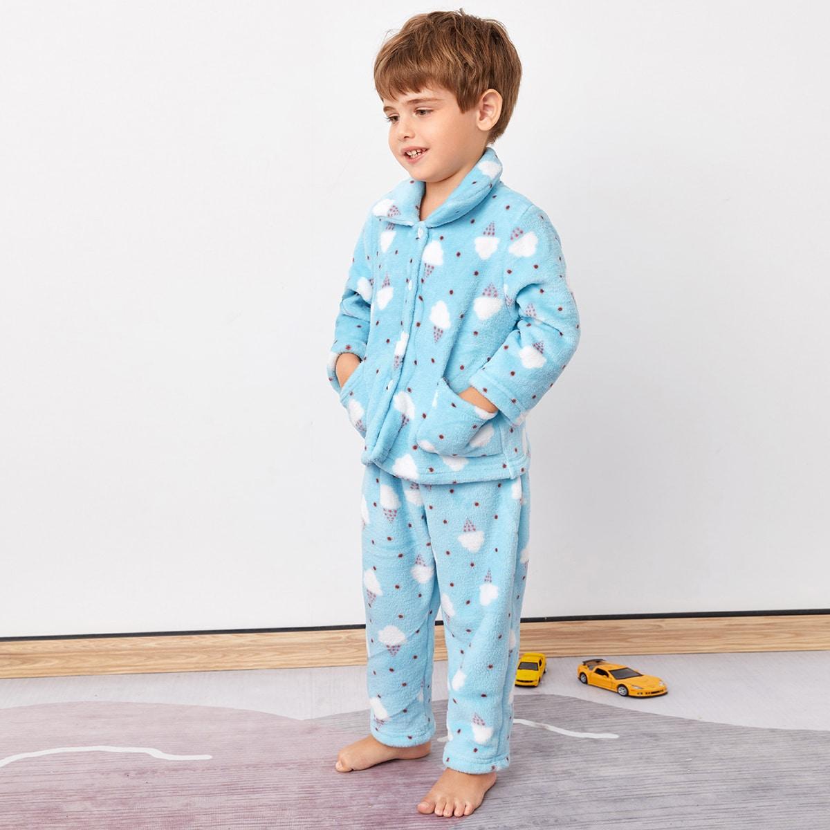Плюшевая пижама в горошек с принтом мороженого для мальчиков