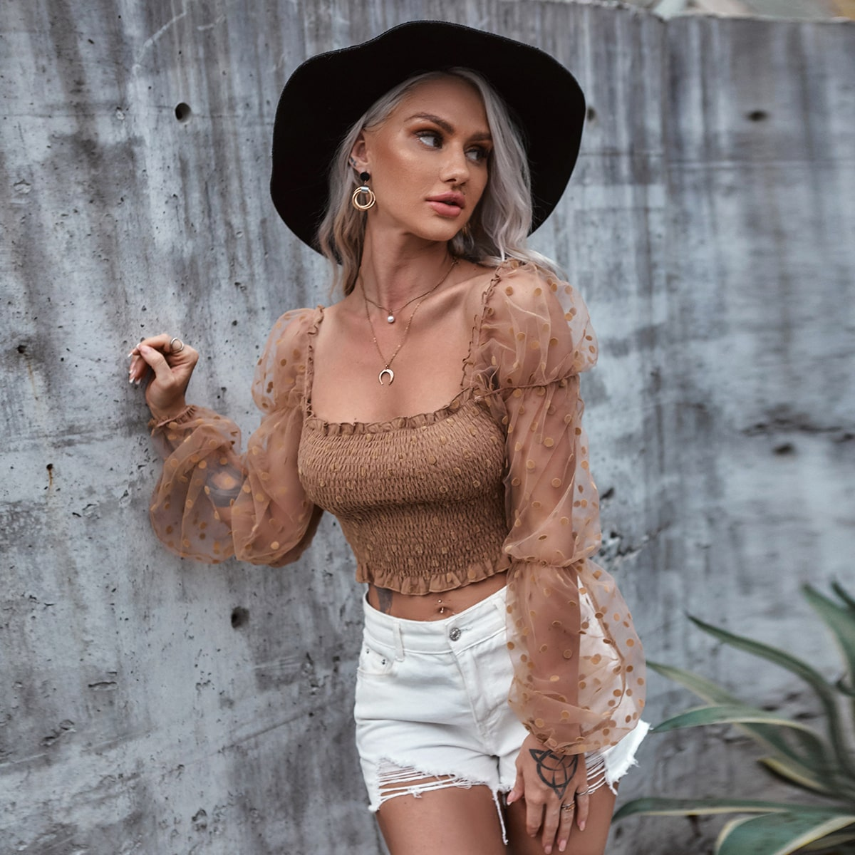 Boho Stippen Dame top Ruches
