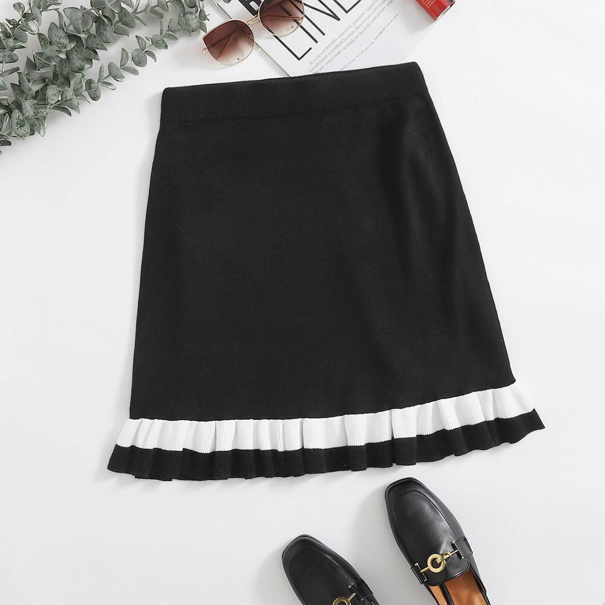 Вязаная юбка размера плюс с оборкой