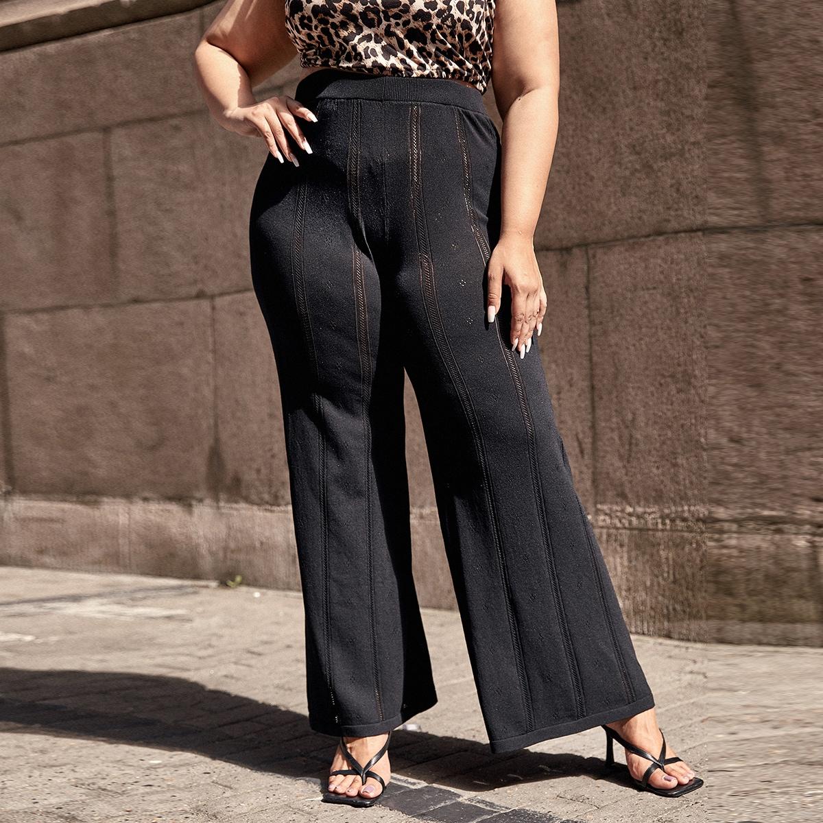 Вязаные брюки размера плюс с кружевной вставкой
