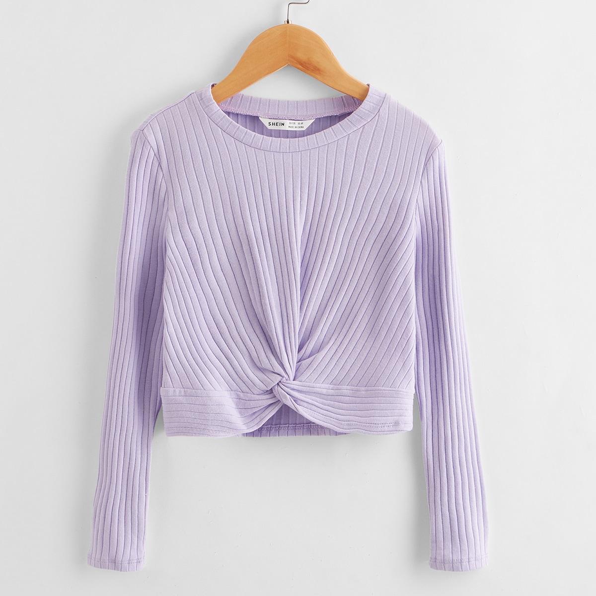 Вязаная футболка с драпировкой для девочек