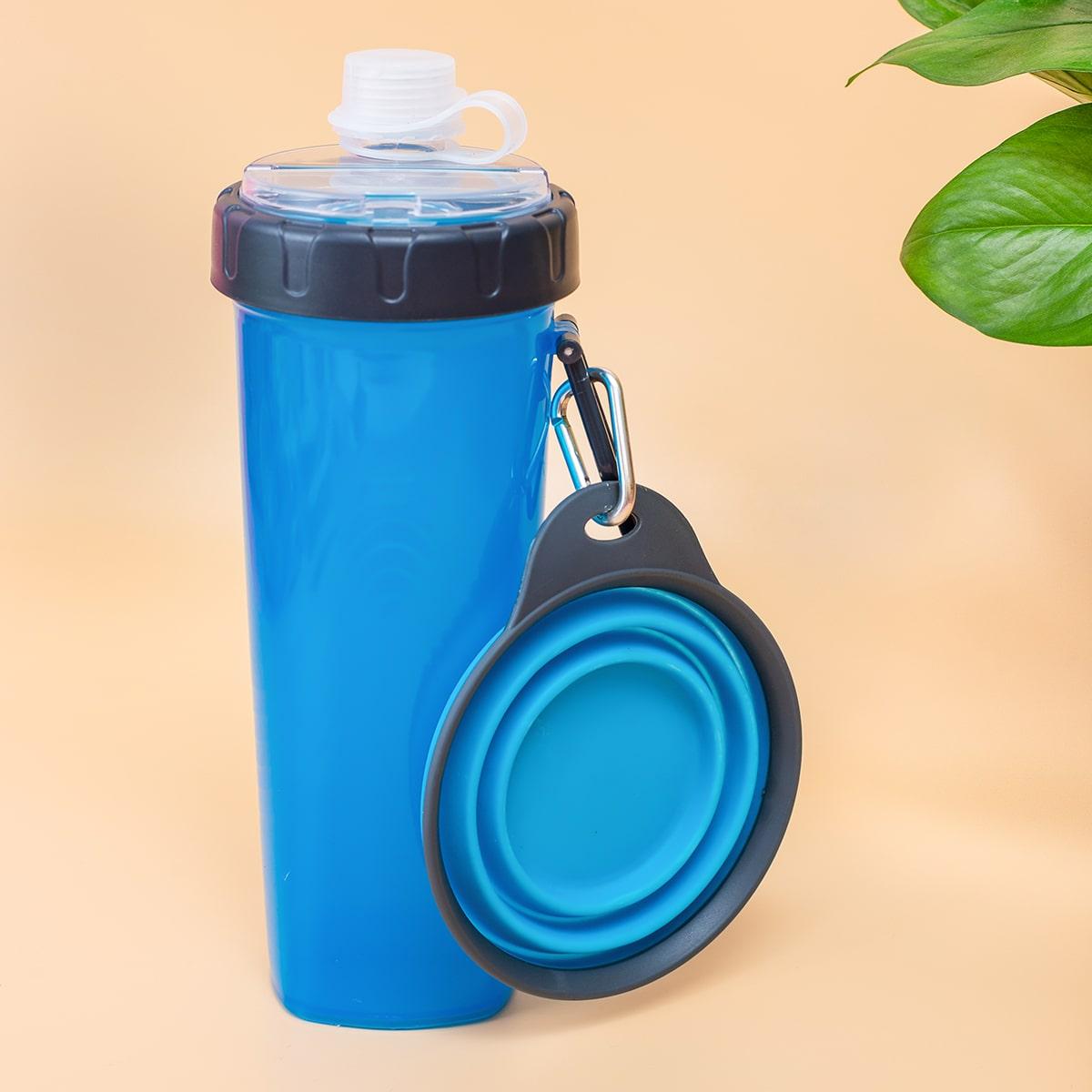1pz Bottiglia d'acqua per cani e 1pz ciotola pieghevole
