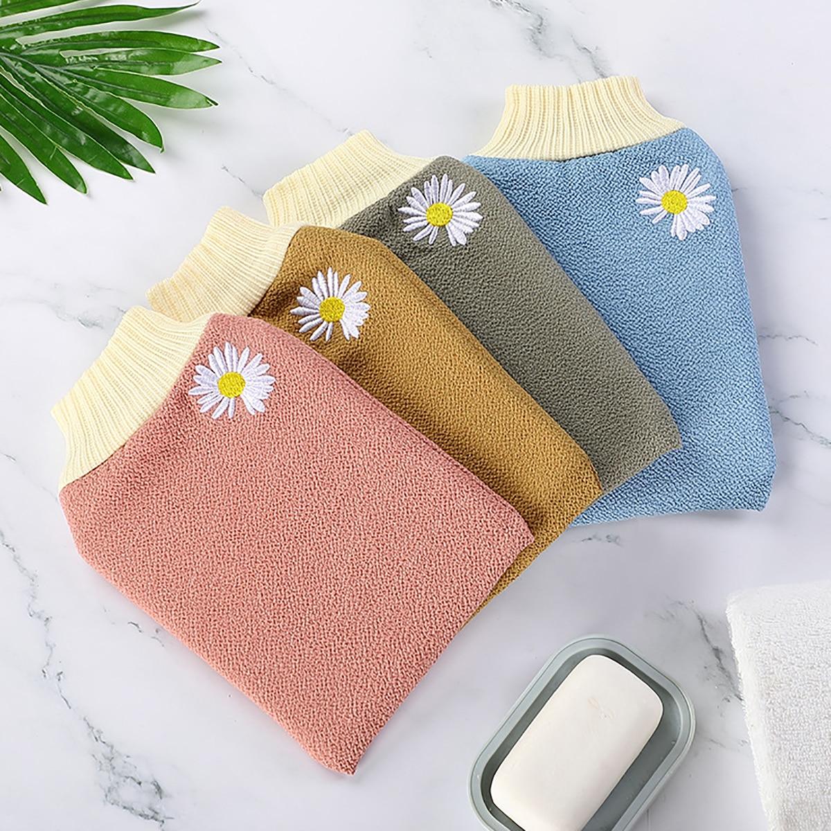 1pc Daisy Pattern Random Exfoliating Bath Glove, SHEIN  - buy with discount