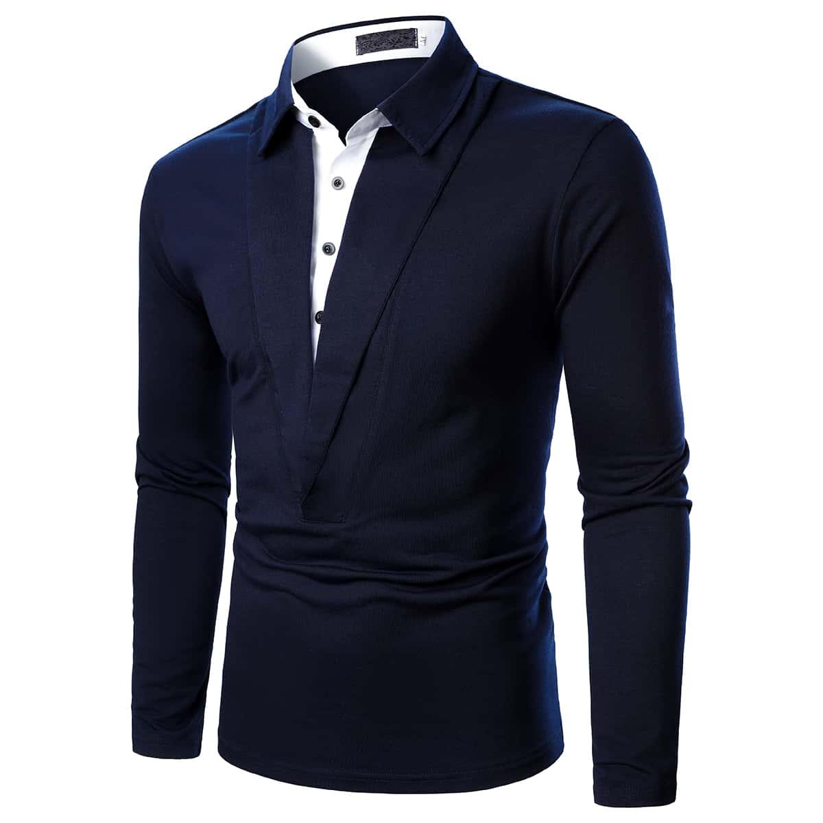 Однобортный Контрастный цвет Работа Мужские рубашки поло