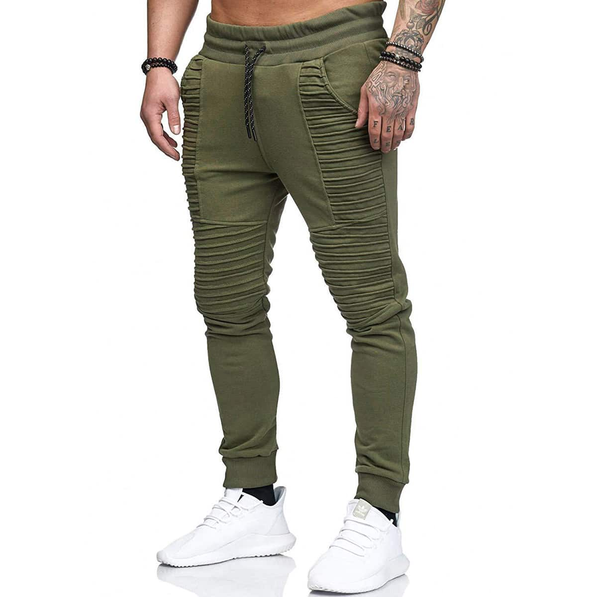 Men Solid Drawstring Waist Sweatpants