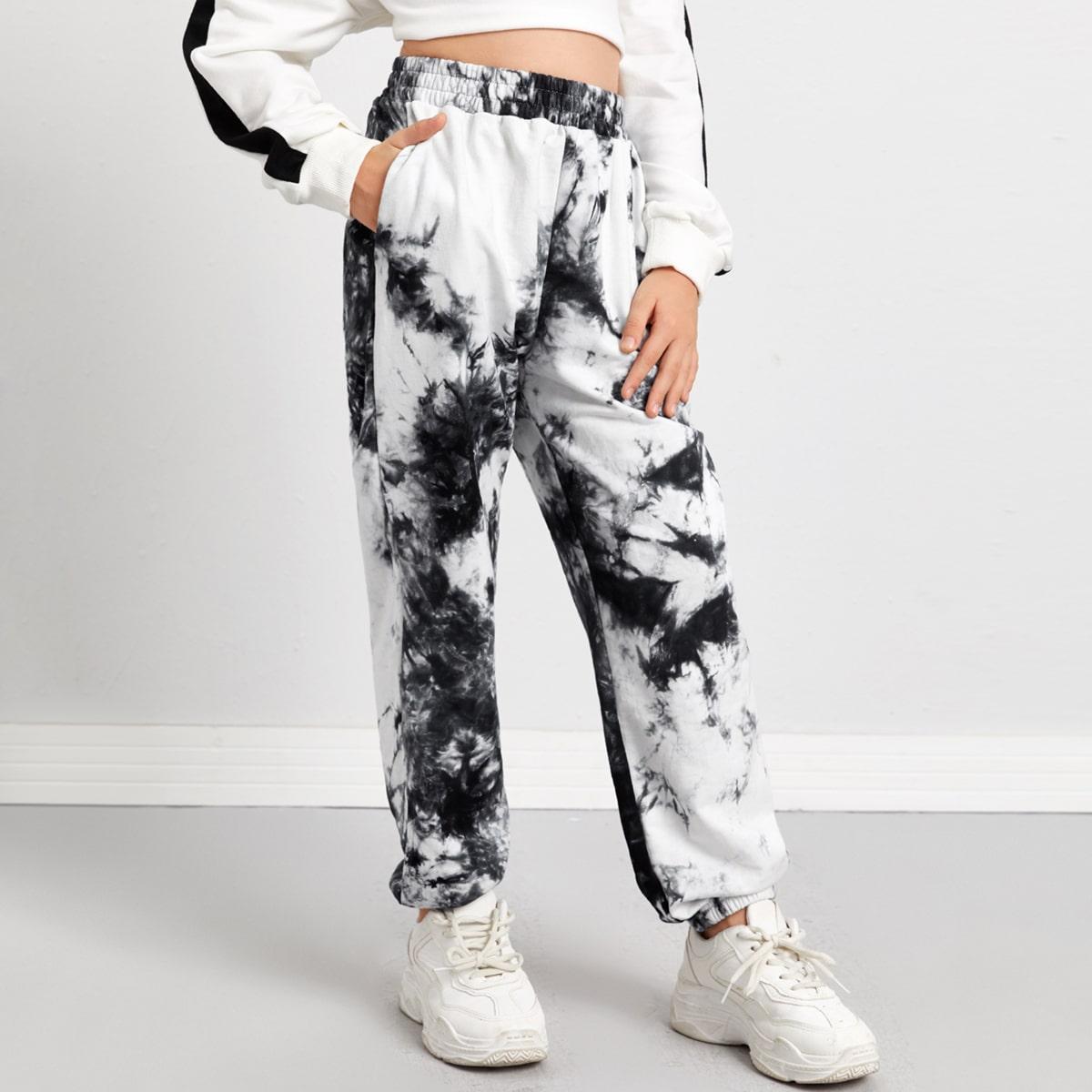 Спортивные брюки с принтом тай дай и карманом для девочек