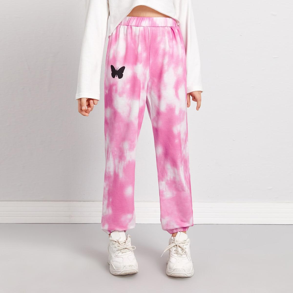 Спортивные брюки с принтом тай дай и бабочки для девочек