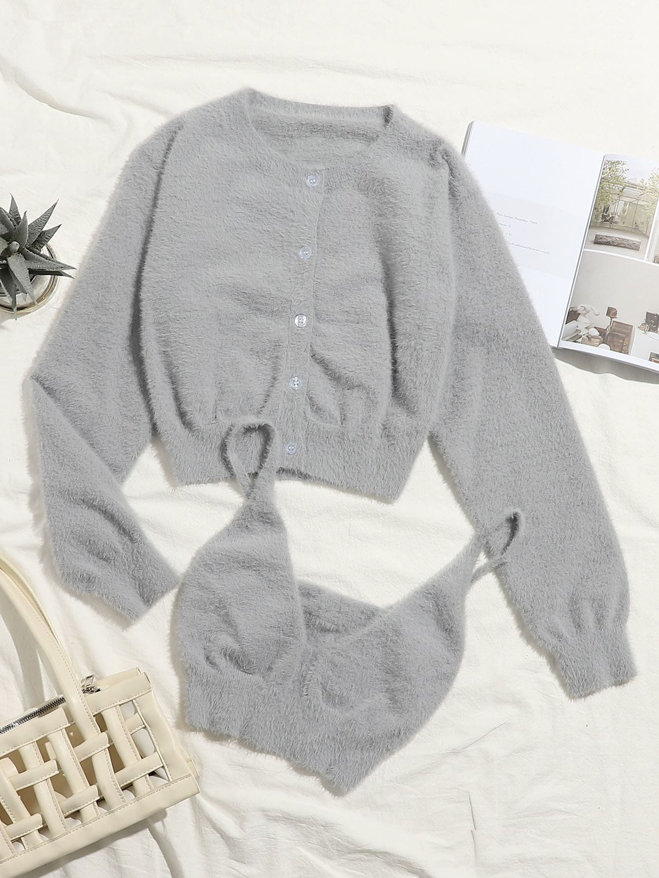 Button Front Fuzzy Knit Cardigan With Cami Top thumbnail