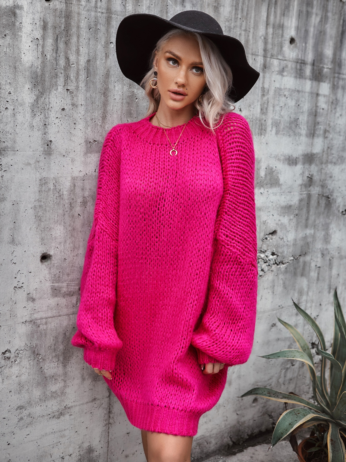 Solid Drop Shoulder Oversized Knit Dress thumbnail