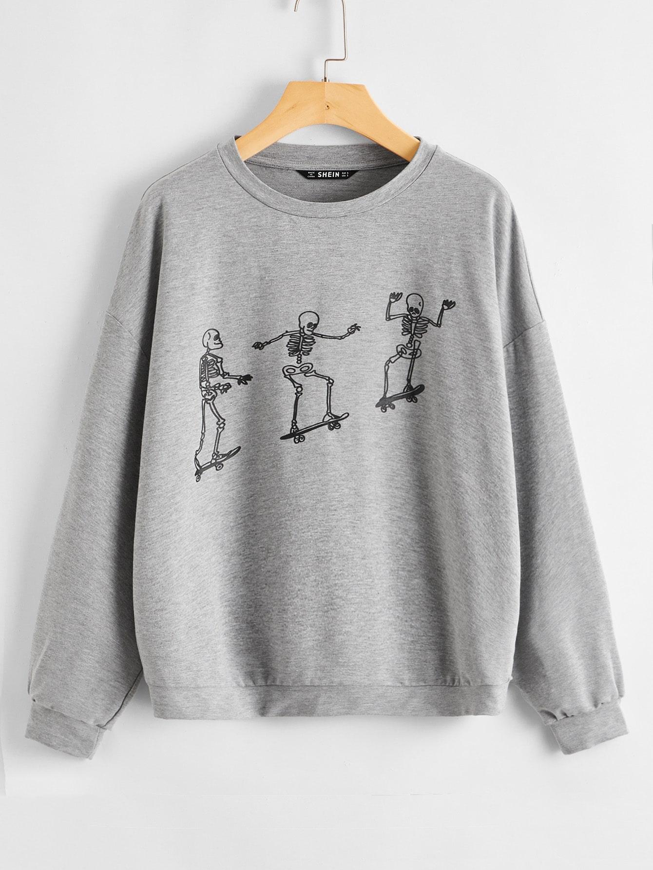 Plus Skater Skeleton Graphic Pullover thumbnail