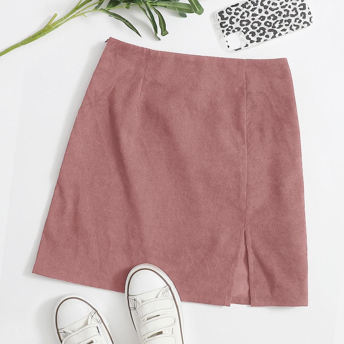 Вельветовая юбка с разрезом и молнией