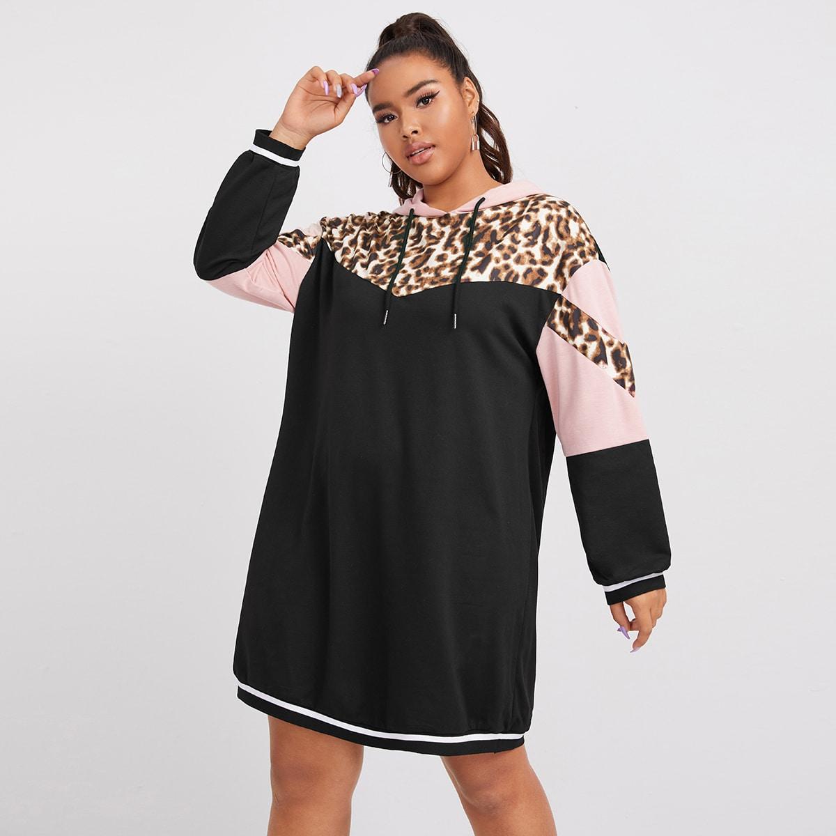 Платье размера плюс с капюшоном и леопардовым принтом на кулиске