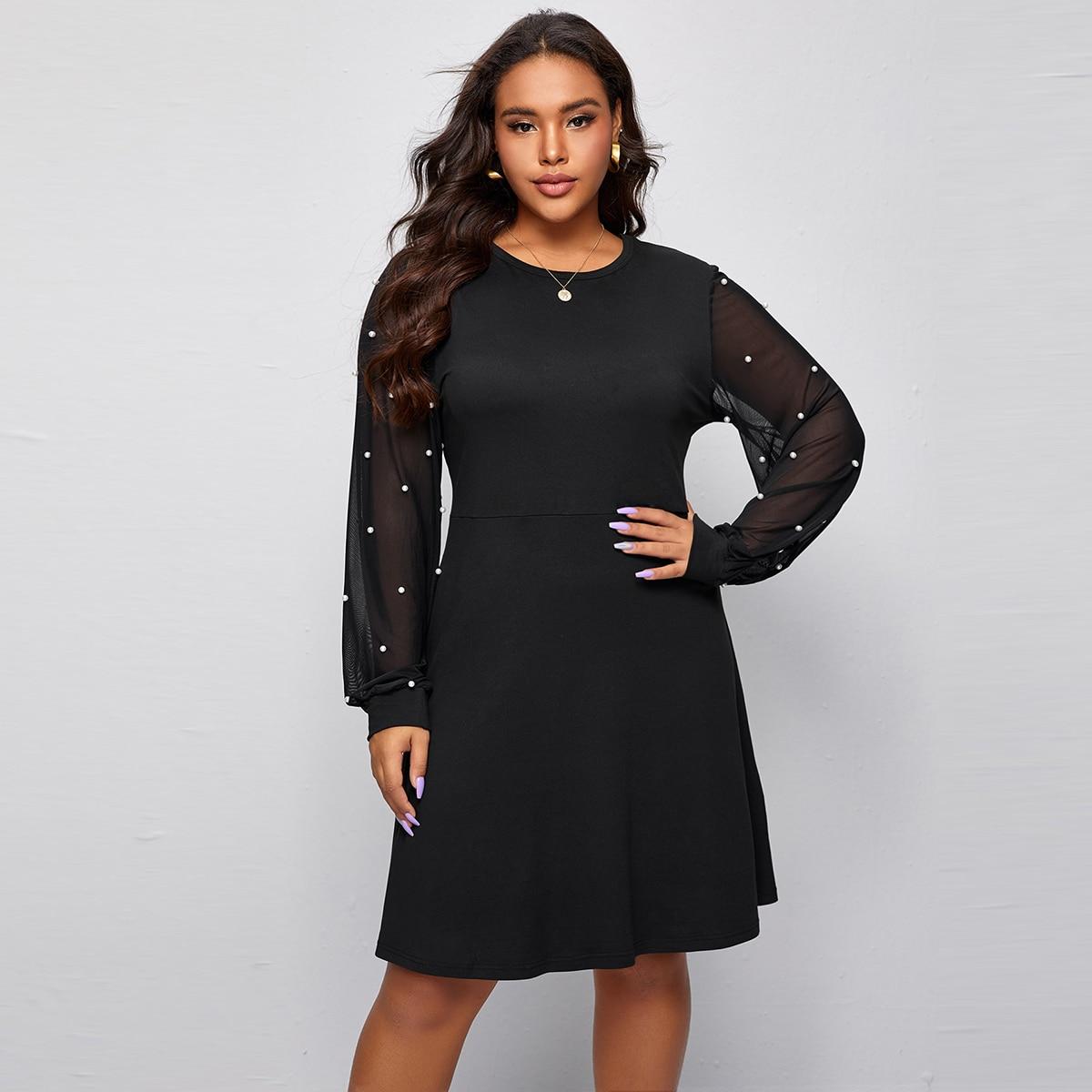 Платье размера плюс с сетчатым рукавом и жемчугами