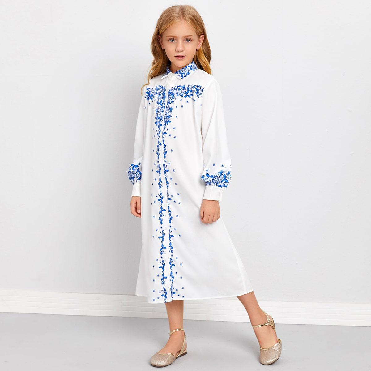 Платье-рубашка с цветочным принтом и рукавом фонариком для девочек