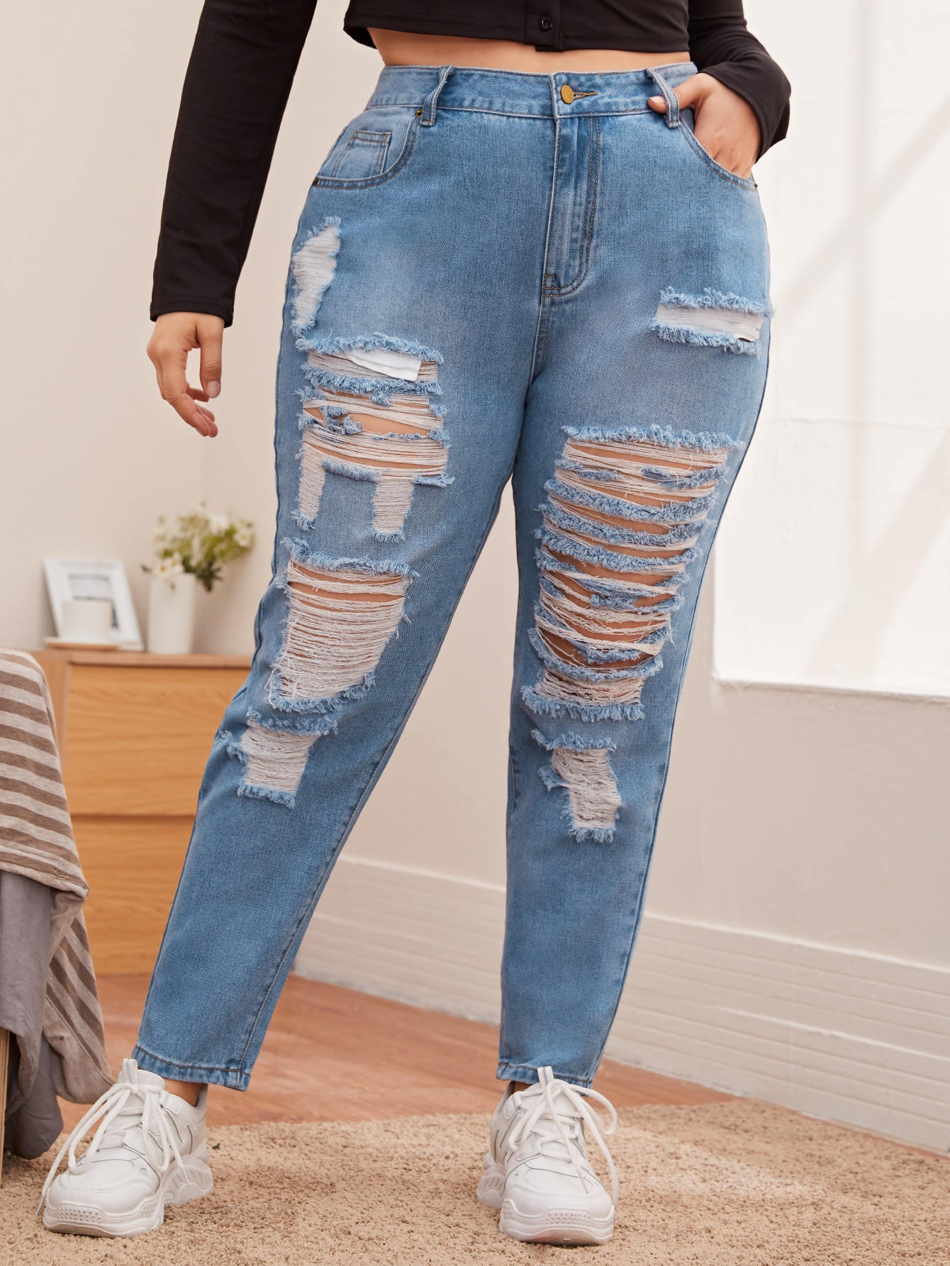 Plus High Waist Light Wash Ripped Jeans thumbnail