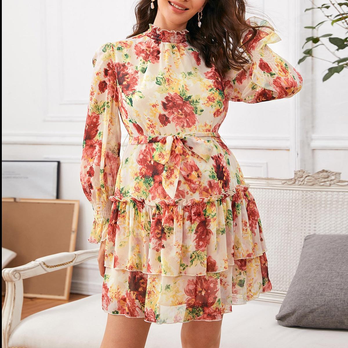 Платье для беременных с цветочным принтом и поясом