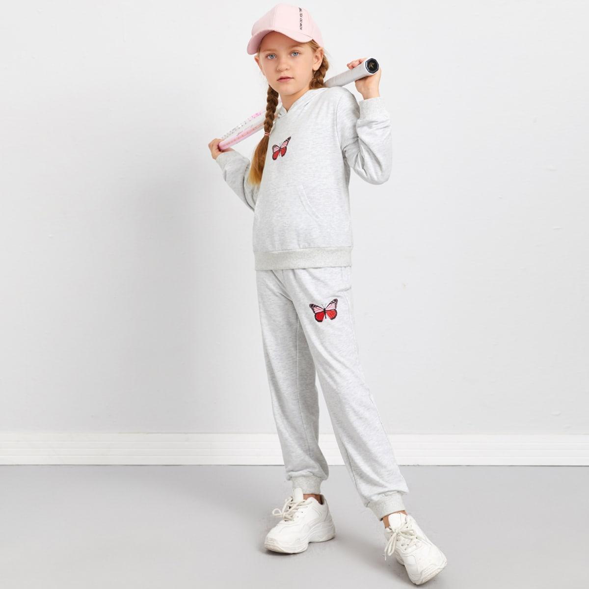 Спортивные брюки и толстовка с принтом бабочки для девочек