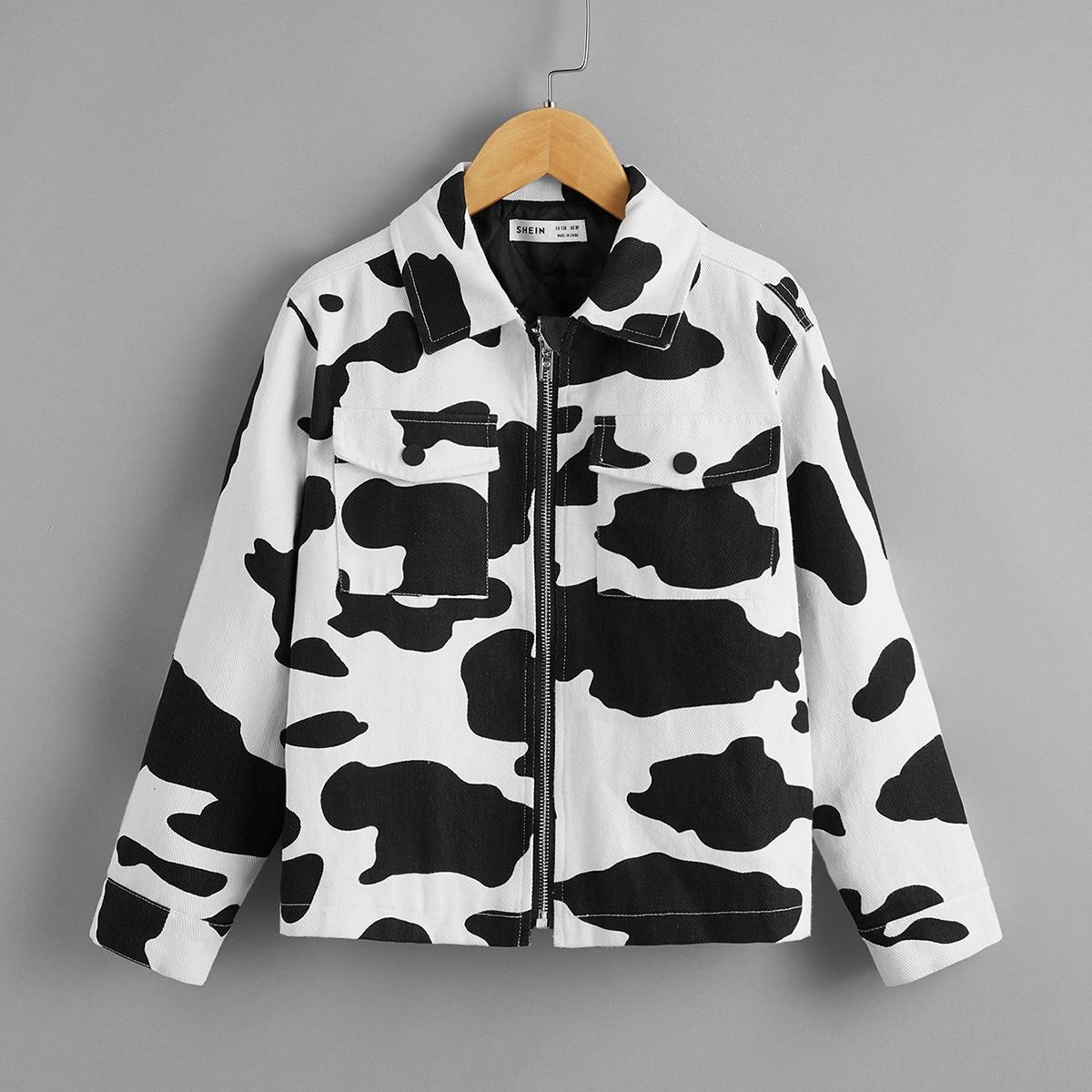 Куртка с карманом и коровьим принтом для мальчиков