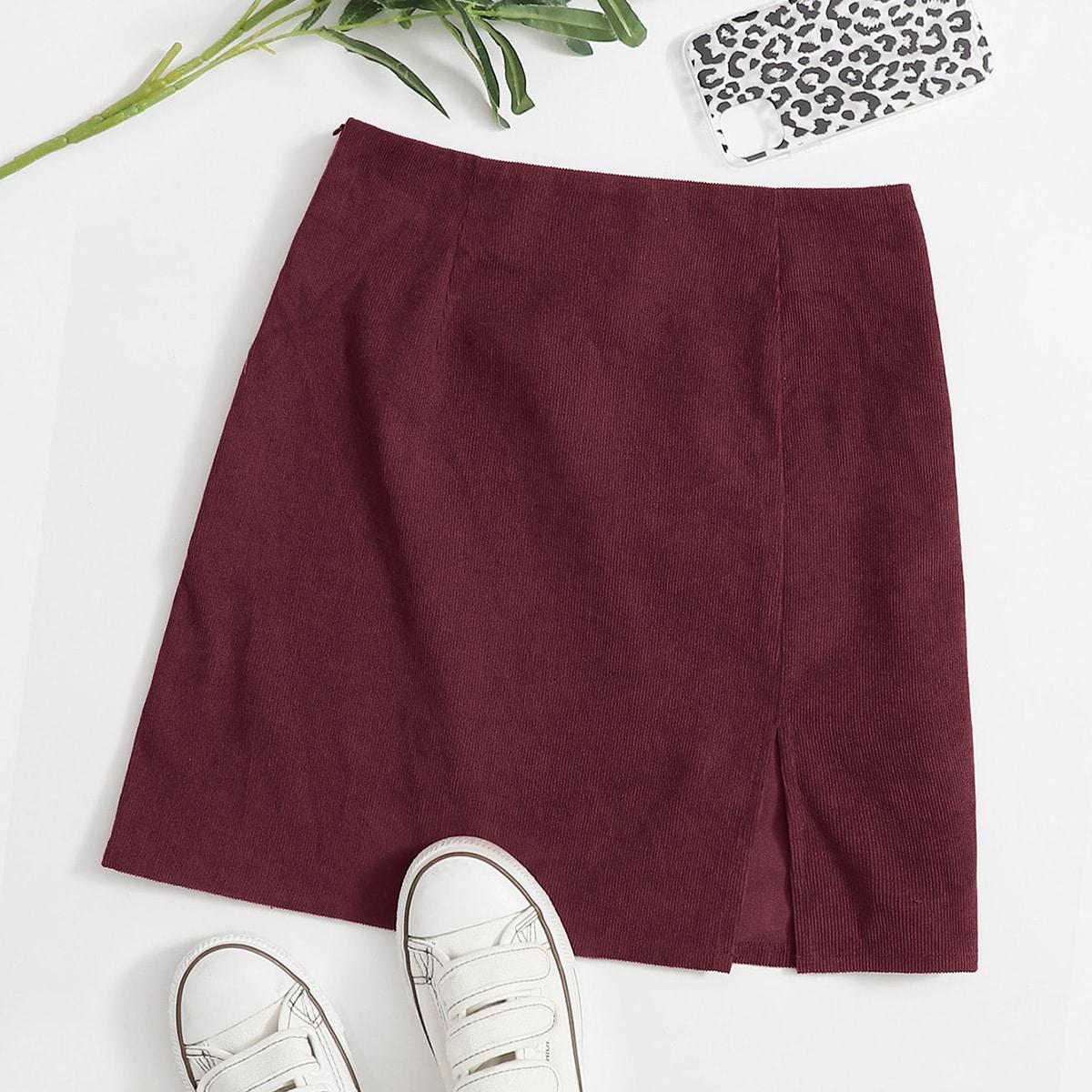 Вельветовая юбка с разрезом