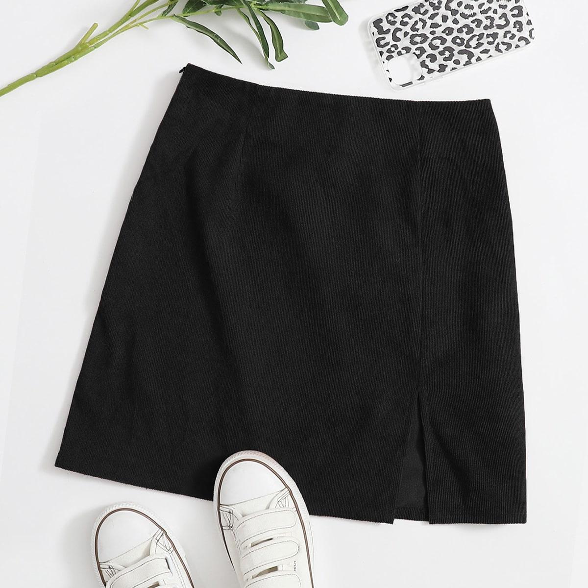 Split Hem Cord Skirt