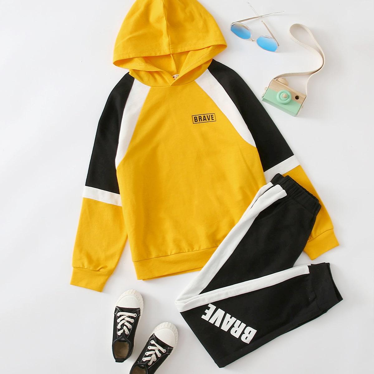 Спортивные брюки и толстовка с текстовым принтом для мальчиков