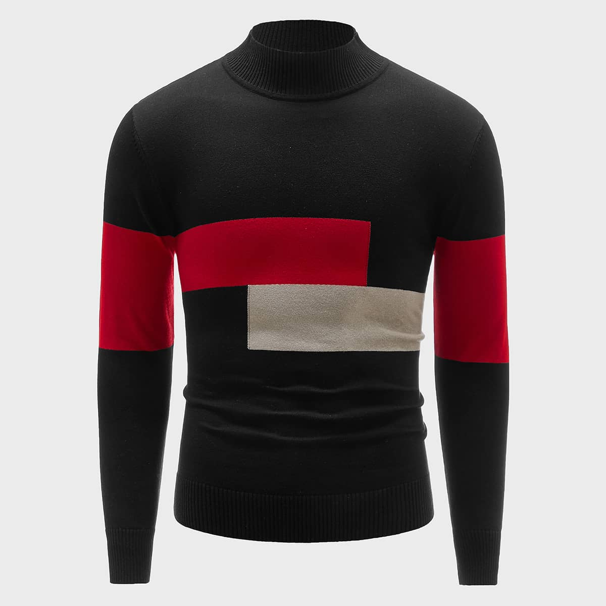 Men Color Block Stand Collar Sweater