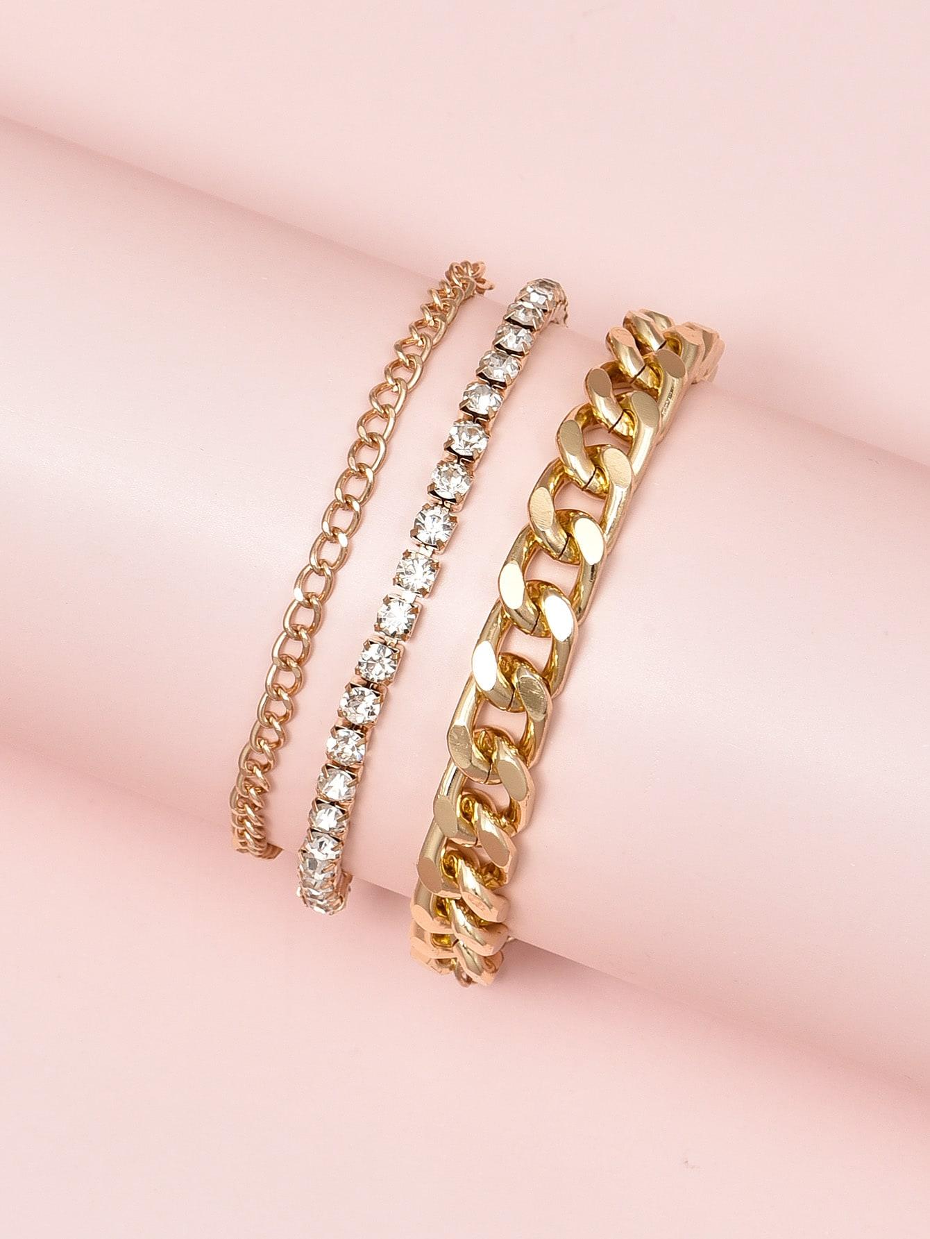 3pcs Rhinestone Decor Bracelet thumbnail