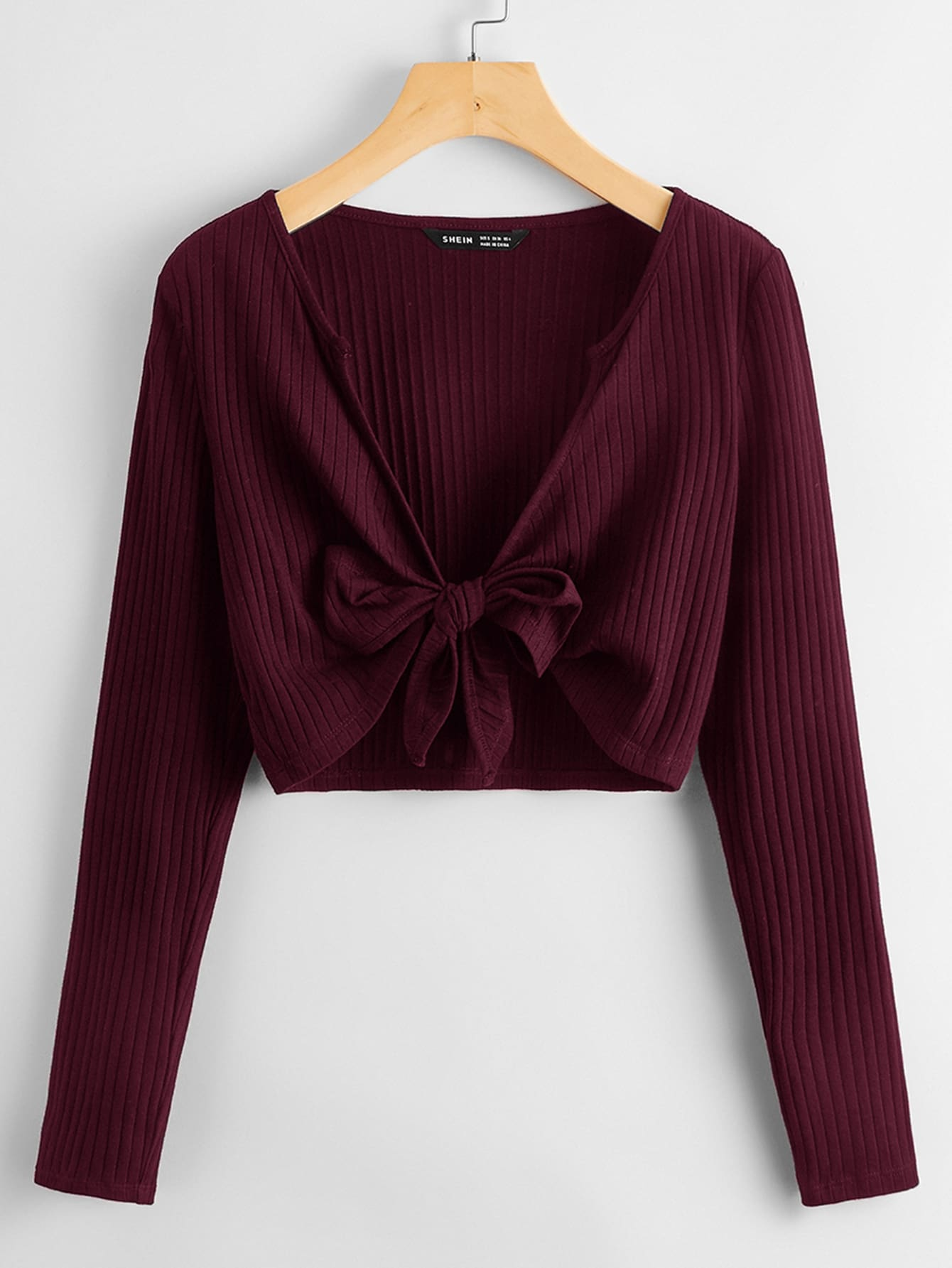 Tie Front Rib-knit Solid Top thumbnail