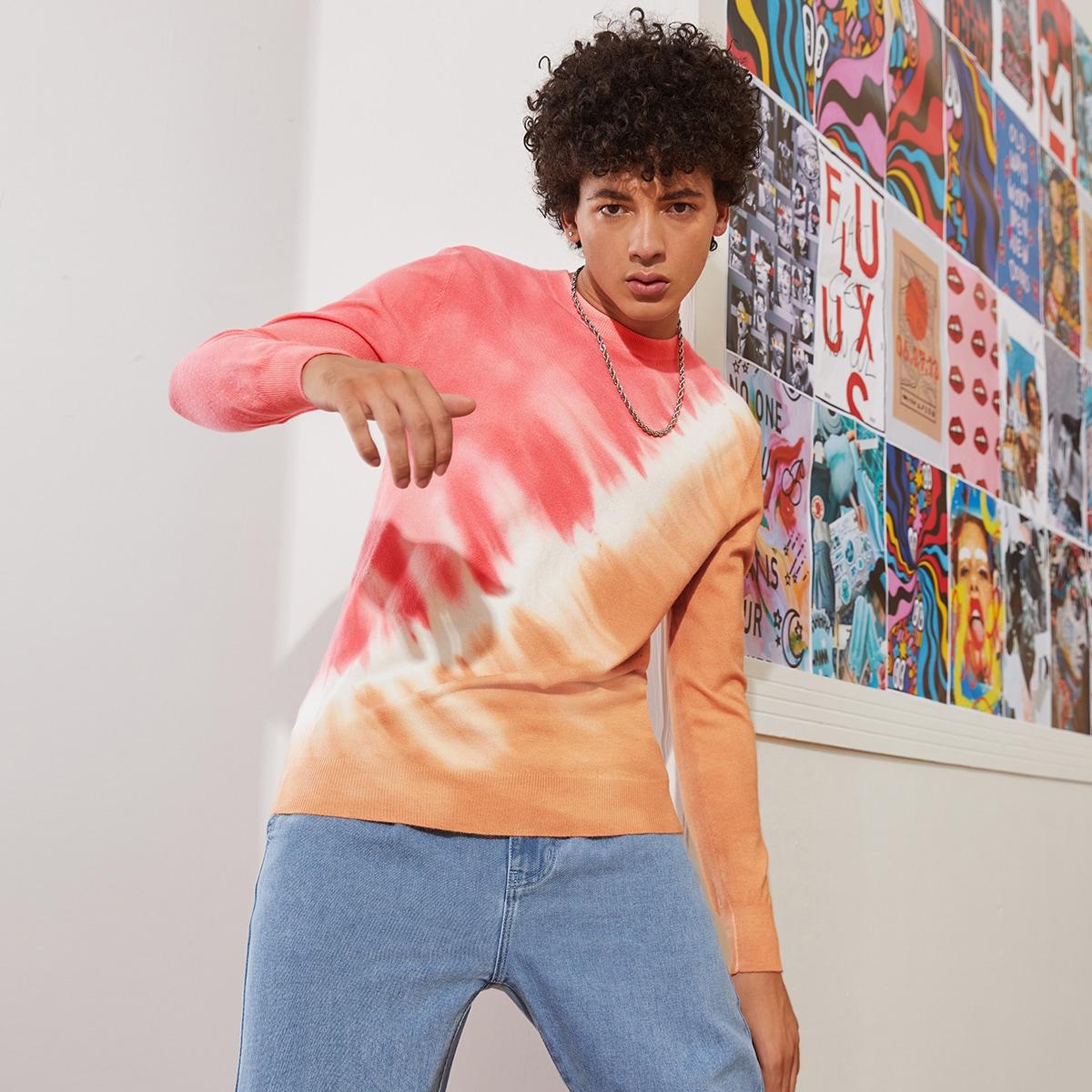 Мужской свитер с принтом тай дай