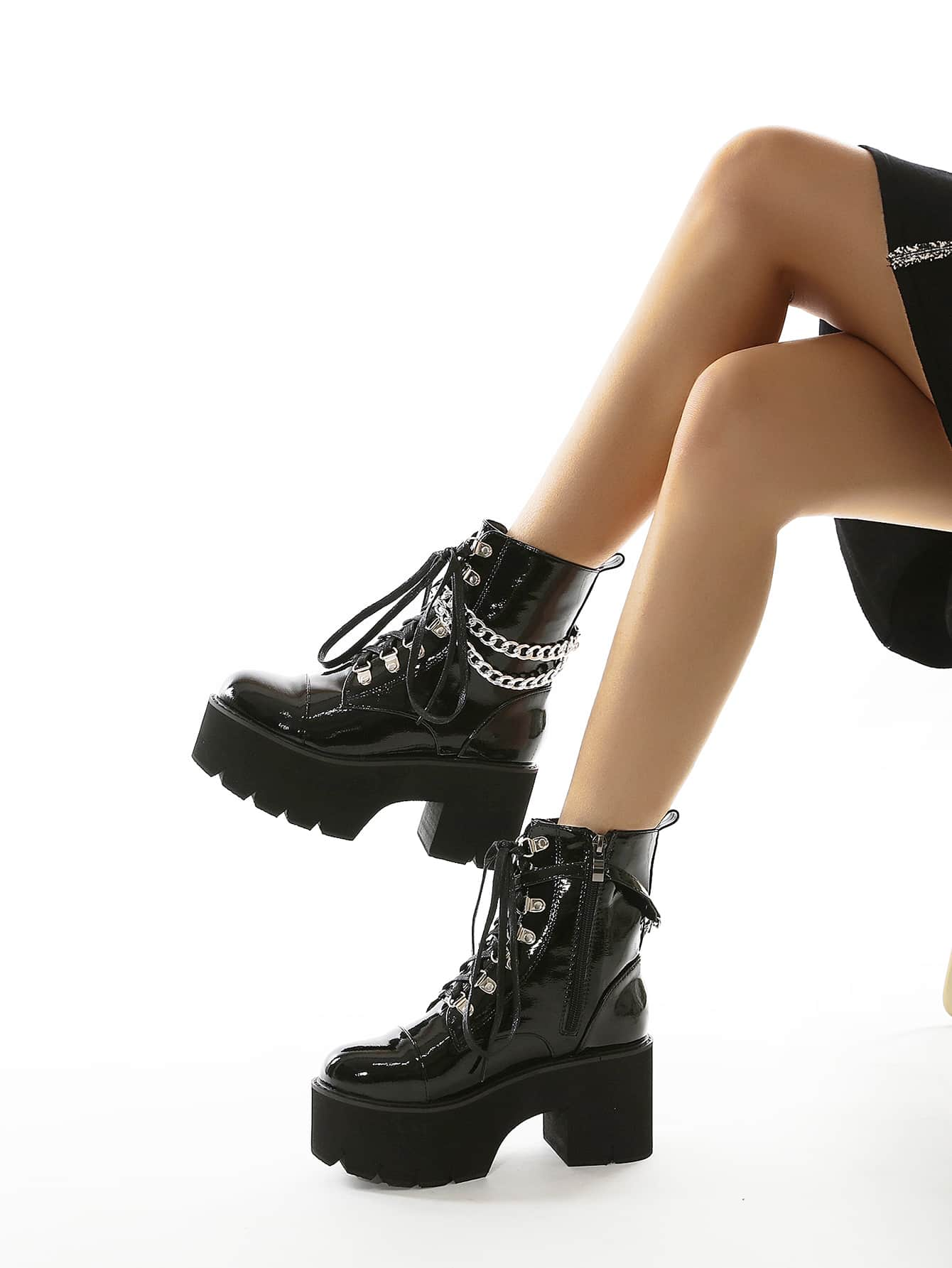 Chain Decor Platform Chunky Heeled Combat Boots