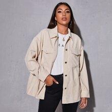 Corduroy Drop Shoulder Button-Front Jacket