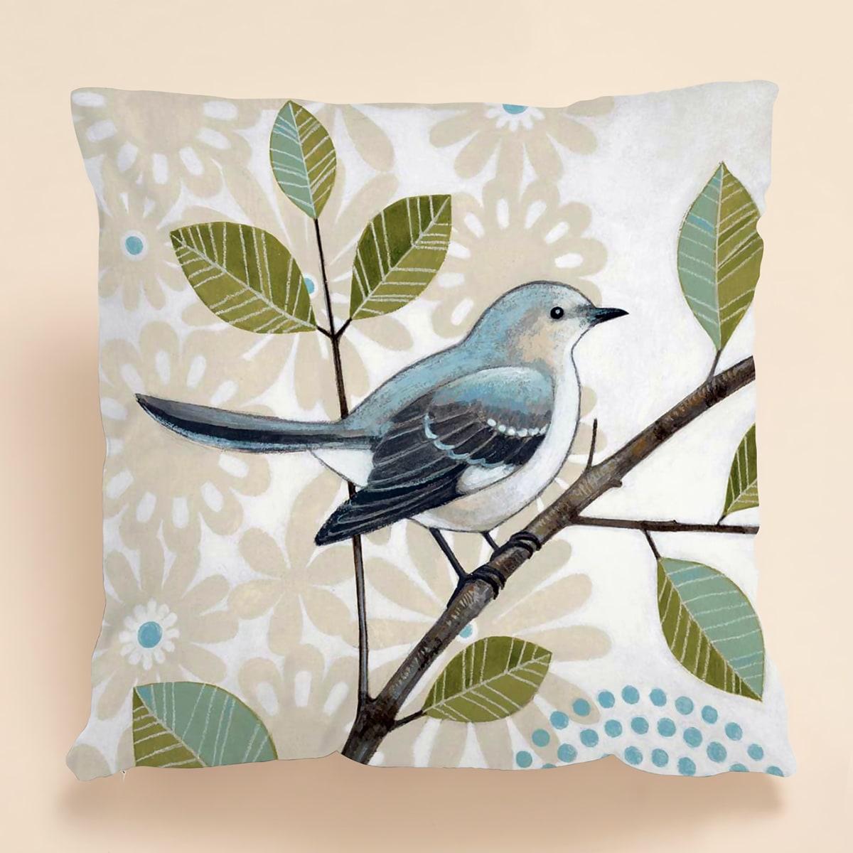 Kissenbezug mit Vogel Muster ohne Fülle