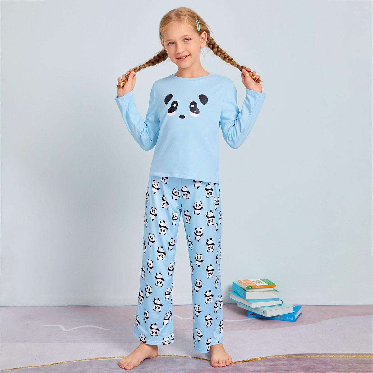 Пижама с принтом панды для девочек