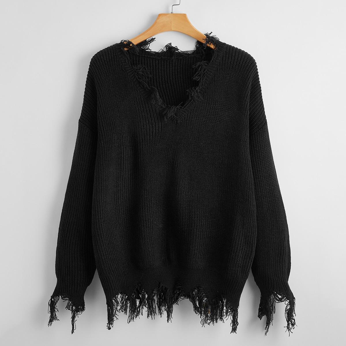 Однотонный свитер размера плюс с v-образным воротником