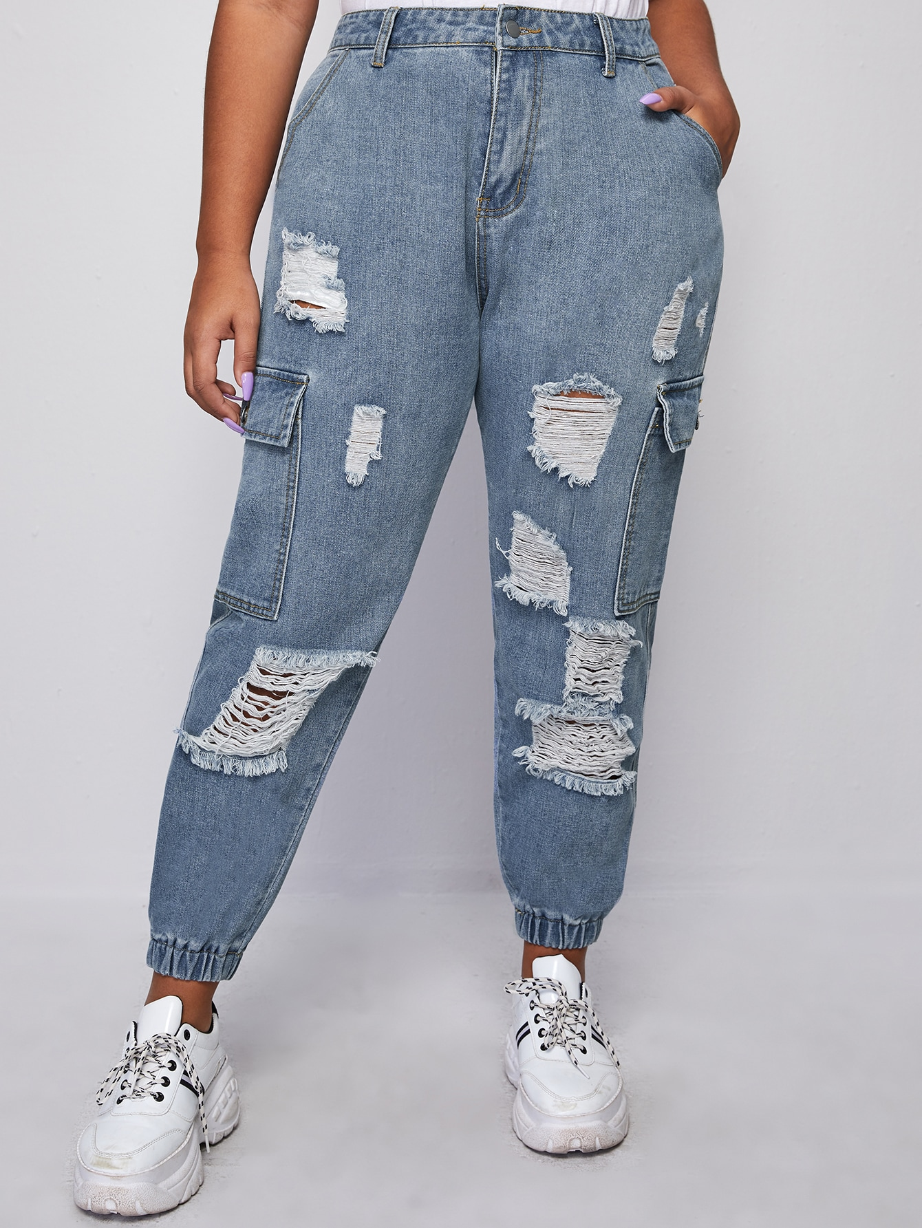 Plus Buttoned Front Ripped Flap Pocket Patched Jeans thumbnail