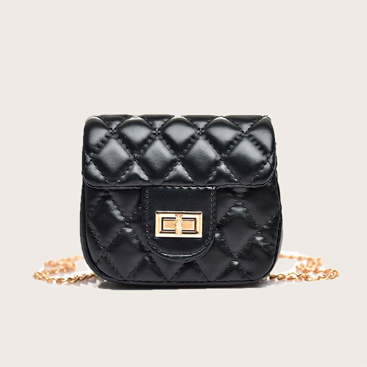 Girls Random Twist Lock Quilted Chain Crossbody Bag