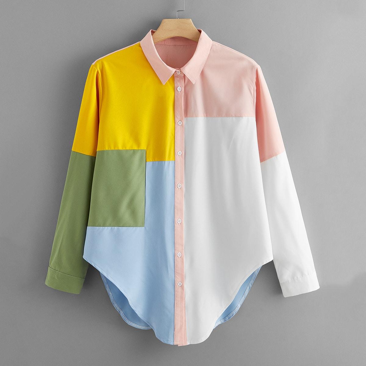 Контрастная блузка размера плюс на пуговицах