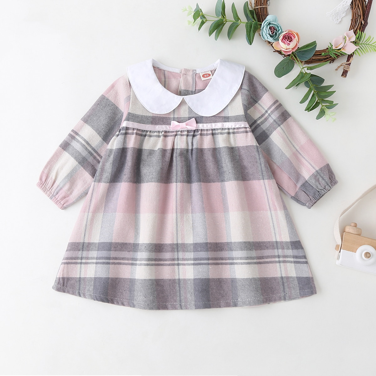 Контрастное платье в клетку для девочек от SHEIN