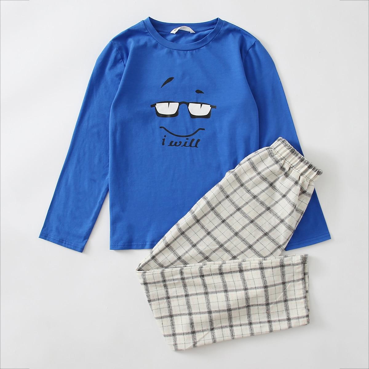 Пижама в клетку с оригинальным принтом для мальчиков
