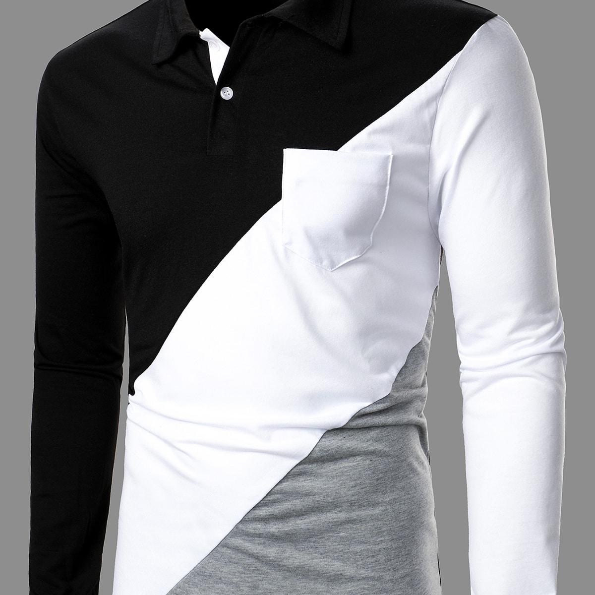 Карман контрастный цвет повседневный мужские рубашки поло