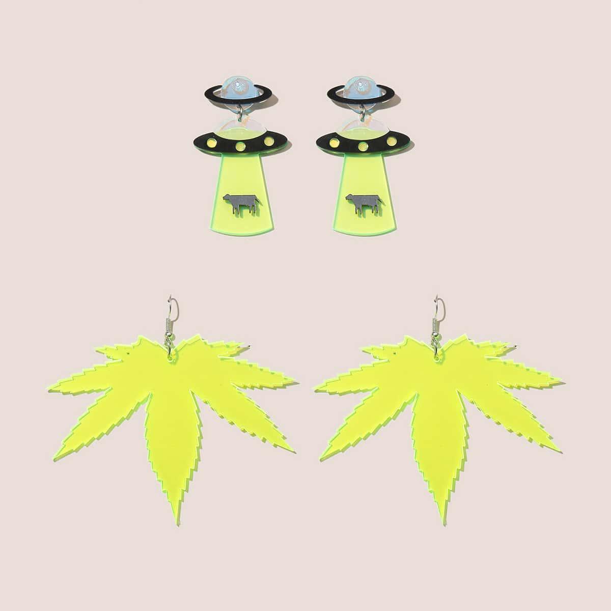 2pairs Leaf Drop Earrings