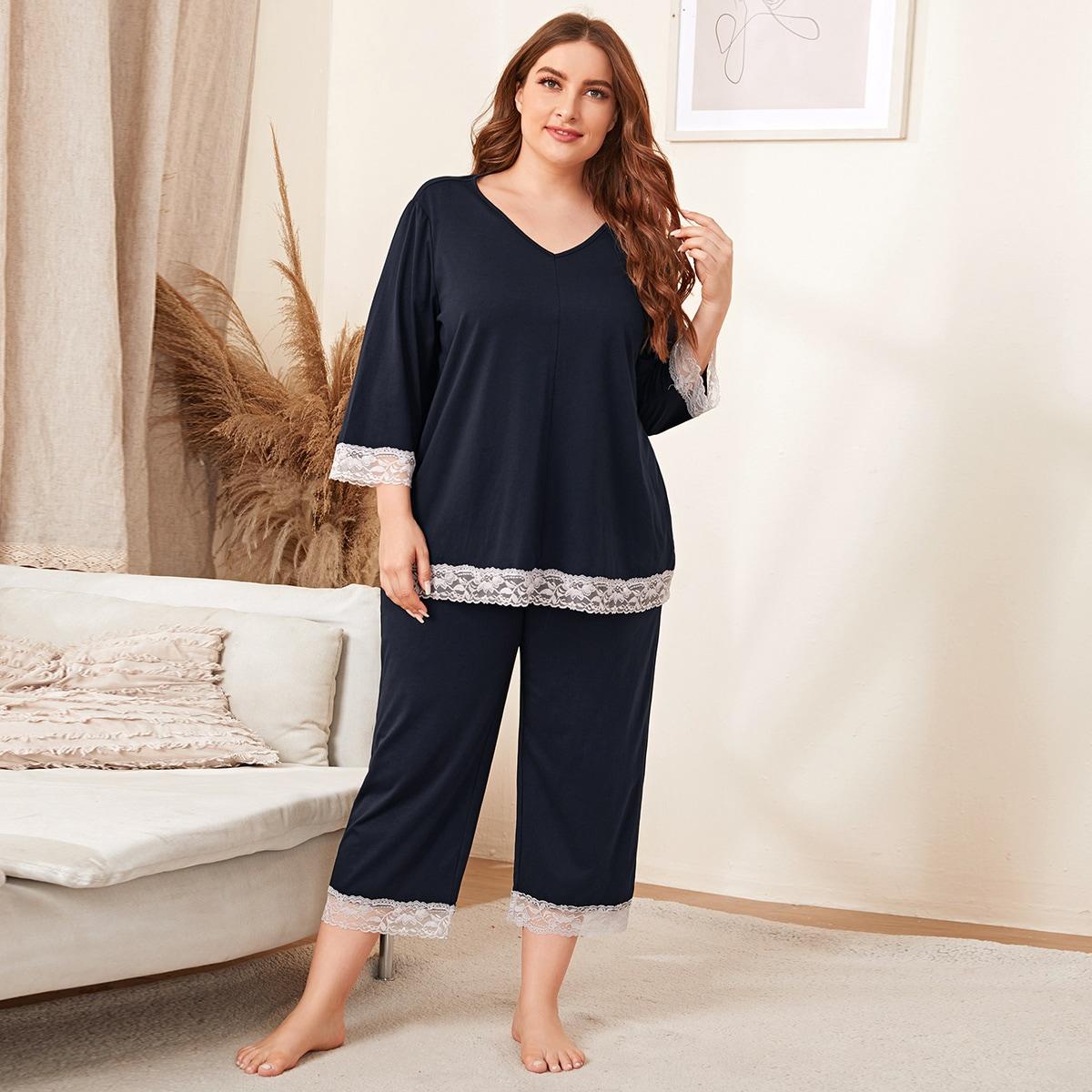 Контрастные кружева Повседневный Пижама размер плюс